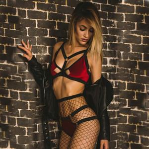 Нижнее белье Новый стиль женщины сексуальное качество Шнуровка V шеи Sexy Bikini Прозрачный соблазнительной женщины Трусы вскользь Silk Stockings