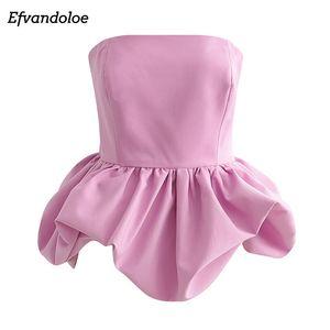 Efvandoloe Розовый Блуза женщин с плеча клуба партии Sexy Топы рукавов Лето Блузки дамы