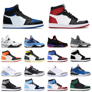 Air Jordan 1 zapatillas de baloncesto Obsidian Royal Toe Black Toe hombres mujeres air jordan 3 retro UNC air jordan 4 White Cement PSG outdoor mens sports sneakers 36-47