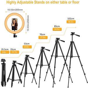 10 LED-Ringlicht Selfie Trepied Desktop-Ringlight Stativ dimmbare Lampe Telefon Standplatz-Halter Kreis Aufhellen Makeup Fotografie