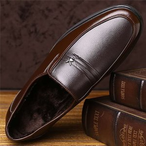 Men's shoes plus velvet spring and autumn new business suits with round toe leather shoes men