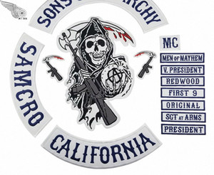 2018 Original Embroidery Son Of Anarchy Patches Full Back For Motorcycle Rider Biker Jacket Vest Iron on 14 pcs Patch MC1931 Brand MFwD#
