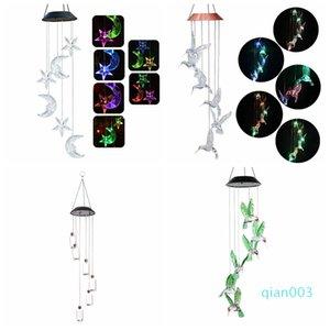 Mudando a cor do LED Solar Wind Chimes lua e as estrelas Humming Bird Wind Chimes borboleta Objects Pingente de Bell Quintal Garden Home decorativas