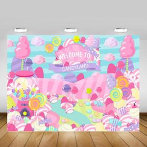 Candy di compleanno di tema Banner Fotografia Sfondo Benvenuti a Candyland dolce principessa Baby Shower background bambini Lollipop