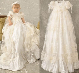 Custom Made Baby Kids First Communion Dresses 2019 Vintage Jewel Neck with Short Sleeve Long Train Lace Applique Wedding Flower Girl Dresses