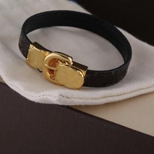Nuevo pulsera de cuero de la flor para mujer Hebilla de oro de alta calidad Pulsera de cuero negro Pareja Joyería Charm Pulsera Suministro