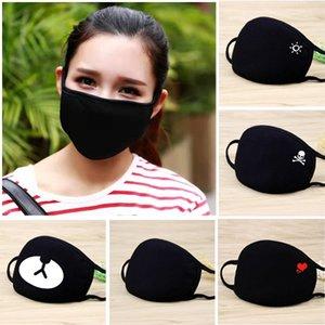 Forma ao ar livre cara preta máscara máscara PM2.5 algodão de moda à prova de poeira máscara protetora coração respirável sexo crânio