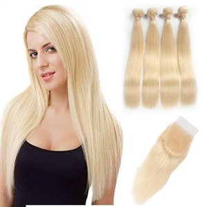 A Hair 613 Straight Virgin Hair 4 Bundles With Lace Closure Roots Blonde Brazilian Human Hair Weaves With Lace Frontal