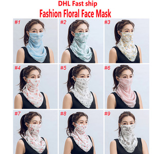 Dhl Print Floral Ship Women Sun Protection Breathable Neck Gaiter Scarf Silk Chiffon Handkerchief Outdoor Windproof Half Face Mask