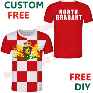 North Brabant Free Custom Netherlands Province Flag Noord Brabant arms red-white t shirts Emblem Checked clothes Plaid t shirt X0923