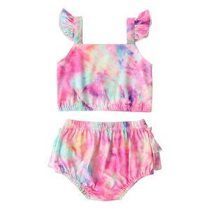 2020 Baby Girl New Fashion 0-24M Criança Tie-Dye maiôs Voador luva Open Back Top Ruffled cintura elástica Triangle Shorts