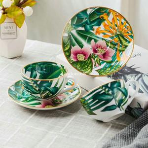Luxuosos porcelana chinesa copos de café com pires de porcelana conjuntos de chá de ouro de aro jogo de café cerâmica do Festival