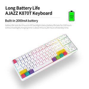 AJAZZ K870T BT&Wired Dual Mode Keyboard RGB 87 Keys Mechanical Game Keyboard for Phone Tablet PC White Dual mode
