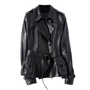Nerazzurri Negro primavera foso de cuero mujeres de la capa del cinturón de manga larga para mujer de doble botonadura alta moda 2020 mujeres de la chaqueta de cuero T200831