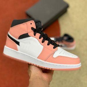 상자 1 중간 핑크 쿼츠 PINK 석영 DARK 연기 GRAY WHITE 골프 신발 테니스 신발 남성 디자이너 트레이너 Schoenen의로