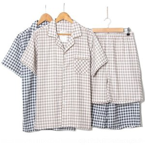 tp4uP oo2ty Summer new cotton yarn gauze plaid suit men's short-sleeved shorts suit two-piece Summer new cotton double layer double-layer hom