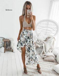 Rebicoo Boho Summer Style Print Skirts Women High Waist Long Skirts Vintage Elegant Split Floral Print Beach Skirt Female