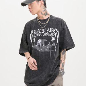Hip Hop Washed T Shirt Men Print Oversized Tshirts 2021 Streetwear Casual Short Sleeve Shirts Cotton Tops
