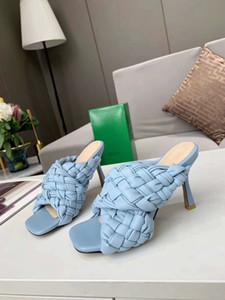 Летний новый тканый высокой пятки сандалии в четырех цветах, черный и белый абрикоса светло-голубой подошвой, итальянская кожа литье под давлением днища партия
