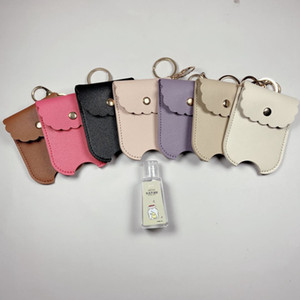 PU Leather Travel Bottle Holder Hand Sanitizer Holder Refillable Reusable Bottles Wrist Coil Key Chain only cover OWB1965