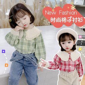 kids designer clothes girlsGirls' autumn shirt 2020 new Korean style children's western style cotton plaid shirt baby girl's shirt trendy