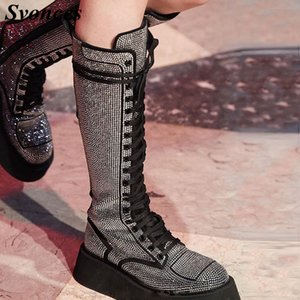 Shiny Full Crystals Women Knee High Boots Laces Flat Platform Glatiator Boots Sexy Lady Ridding Martins 2020 Fall Winter