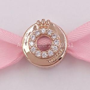 Аутентичные 925 серебряные бусины Pandora Rose Open Center Pave' Crown O Очистить Cz Подвески Подходит Европейский Pandora Стиль ювелирных изделий Браслеты N