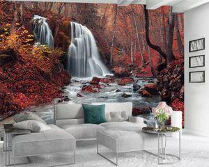 Rüya Kırmızı Orman Salon Bedroom Wallcovering HD Wallpaper içinde 3d Duvar duvar kağıdı Özel 3D Photo Duvar kağıdı Güzel Şelale