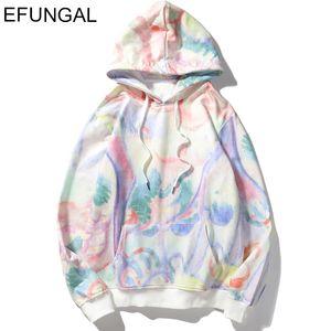 Tie-dyeing Hoodie Man Fleece Winter Comfortable Tops Warm Hip Hop Streetwear Casual Sweatshirts Hooded Harajuku Hoodies