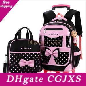 Borsa Vieeoease Girls School Due -Wheeled Pull zaino dei bambini Rod 2018 Fashion Bag Dot Carino Fiocco Polka Con Lunch Bag Ee -769