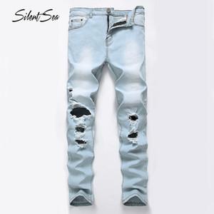 Silentsea Men Fashion Designer Marque Jeans Biker Distressed Ripped trou Marque Denim Jeans Joggers Détruite genou