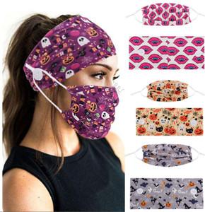 Máscara Headband Two-Peça Set Halloween Imprimir Fitness Yoga Turbante Máscaras Face Headband Botão Anti-Ear Protetora Adultos Adultos Gym Sports D82704