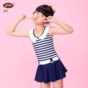 Jinhong 여자 '귀여운 해군 스타일 드레스 원피스 치마 아이들의 수영복 수영복 스트라이프