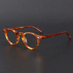 Ronda Acetato de la vendimia de las lentes Gregory Peck OV5186 Mujeres Prescripción Miopía óptico transparente rodea Gafas anti azul claro de la lente T200812