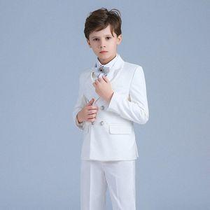 Children Formal Suit Jacket Wedding boys Dress Suit white pure 5Pieces set high quality jacket+vest+pant size 2years -12 years XRoR#