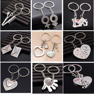 New Fashion Creative Metal SilverScissors comb Love Eternal Couple Keychain Personalized Love Gift For Male Female Friends Good Luck