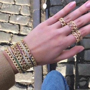 Thin 1 Raw Cz Miami Cuban Chain bracelet White Rainbow cz chains hip hop Rock 2020 New women luxury jewelry