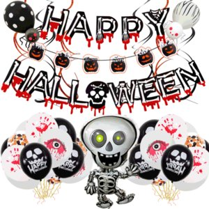Halloween Hanging Ornament Ballon Set Festival Party Supply Decoration Skull Pull Flag Spiral Pendant Halloween Balloon