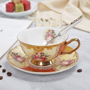 YeFine Bone China Taza y platillo conjunto avanzado Royal clásicos de la tarde tazas de té de cerámica LJ200821