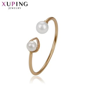 Xuping Fashiom Elegant Adjustable Bangle Jewelry Gold Color Plated Simple Jewelry for Women Valentine's Gift 51779