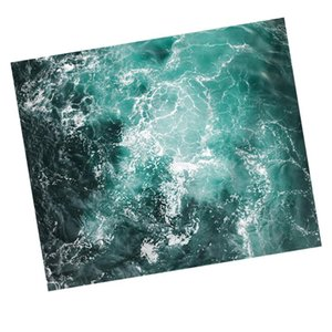 1PC 200x150cm Decorative Tapestry Sea Wave Printed Polyester Wall Hanging for Home (Green)