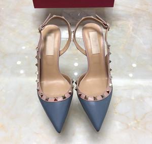 6cm Frauen Schuhe Sandalen Spitzausgehöhlte Heel Nieten Thin hochhackige Schuhe Women 's Sexy Sandalen Einzel Schnallen öffnen