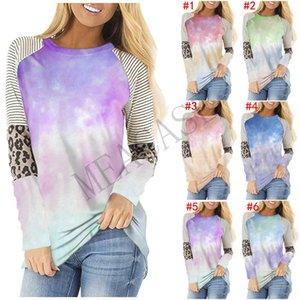 blusas de las mujeres suéter sudaderas Tie-dye de rayas leopardo remiendo de manga larga Tops más el tamaño de Moda Otoño Invierno Sweatershirt Tops D81101