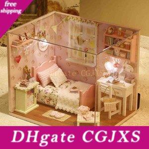 Diy Ahşap Ev Miniaturas ile Mobilya Diy Minyatür Ev Dollhouse Oyuncak İçin Çocuk Noel Ve Doğum Hediye H02