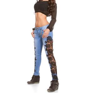 Dantel Paneli Jeans Düşük Bel Skinny Jeans Bayan Denim İçin Kadınlar Kalem Pantolon sayesinde moda Kadınlar Dantel Pantolon Hollow bakın