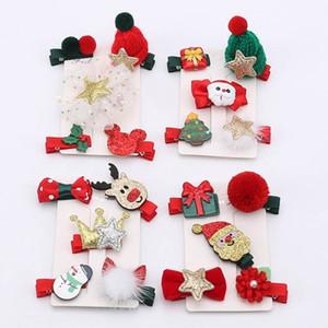 Kız Headdress Hairwear Saç Aksesuar 5pcs / set Kadınlar kız Sevimli Noel tokalar Klip Karikatür Şapkalar Tokalarım