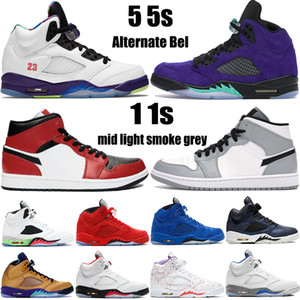 Nouvelles chaussures de basket Jumpman 5 5s Alternate Bel Grape Top 3 Travis Scotts 1 1s Mid Light Smoke Grey Hommes Femmes Baskets Baskets