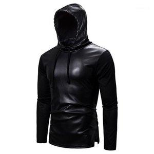 Тис Кожа конструктора Mens Tshirts Черного пуловер Длинный мужской рукав с капюшоном сплошного цвета вскользь Mens
