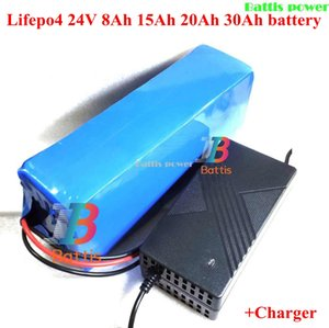 Lifepo4 24V 8Ah 15Ah 20Ah 30Ah lithium battery with BMS for 250w 500w ebike scooter skateboard backup power+ Charger
