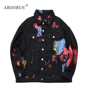 Erkek x2328 için ABOORUN Erkek Moda Denim Ceket Hip Hop Boyalı Jean Ceket İlkbahar Sonbahar Coat Streetwear
